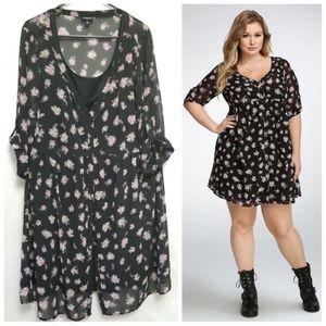 Torrid Floral Chiffon Black Dress Size 2X